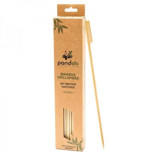 Grillsticks mit breitem Griff aus Bambus
