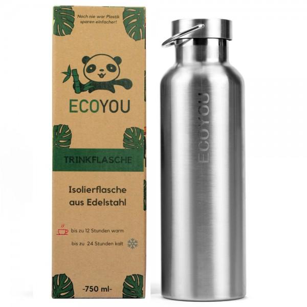 Isolierte Edelstahl-Trinkflasche 750 ml - silber