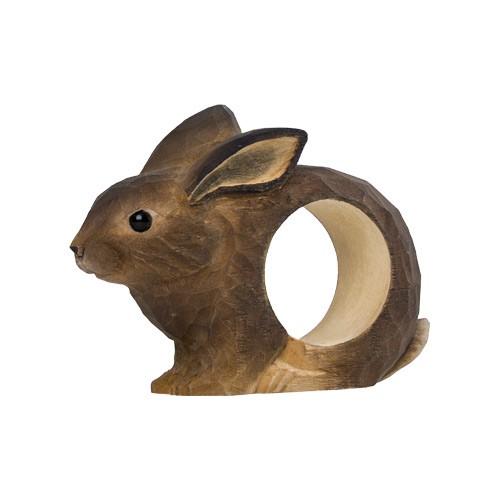 Handgeschnitzter Serviettenring - Kaninchen
