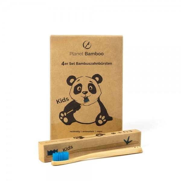 Kinder Bambuszahnbürste - blau