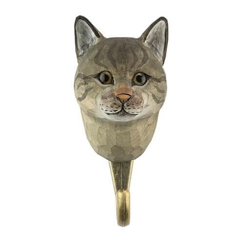 Handgeschnitzter Haken - Katze