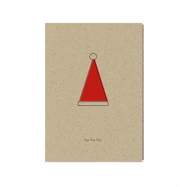 "Weihnachtskarte ""hohoho"" aus Graspapier inkl. Umschlag"