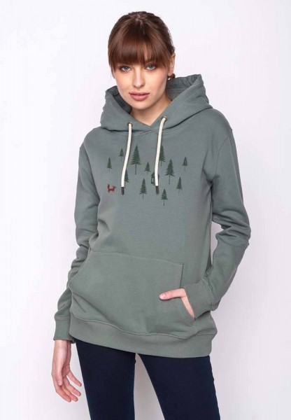 Greenbomb Hoodie Nature Forest Fox - Olive