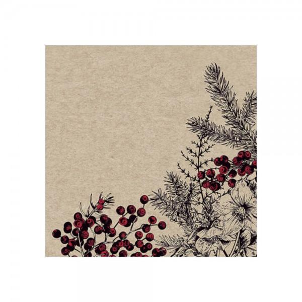 """Serviette """"Botanisches Weihnachten"""" - 100 % Recycling"""