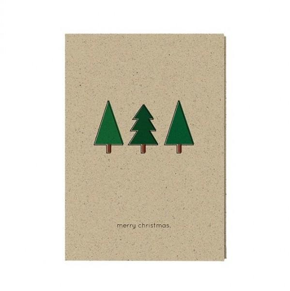 """Weihnachtskarte """"merry christmas"""" aus Graspapier inkl. Umschlag"""