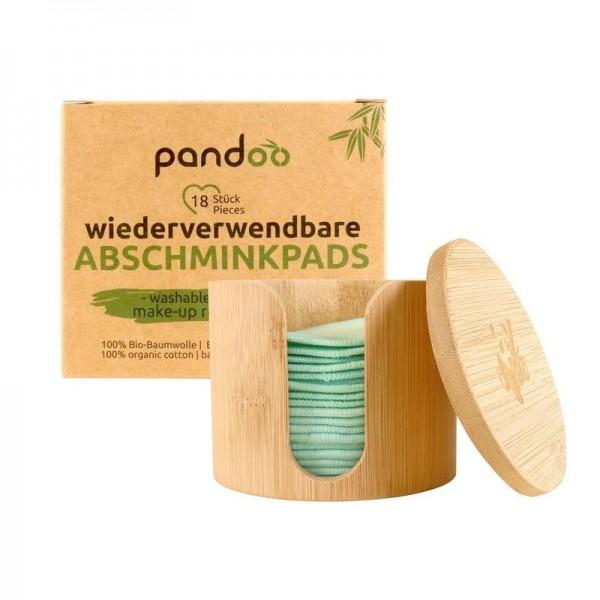 Abschminkpads aus Bio-Baumwolle inkl. Aufbewahrungsbox aus Bambus