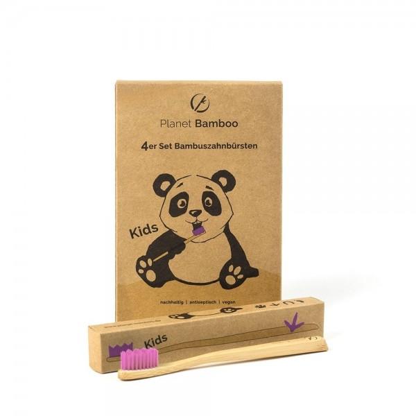 Kinder Bambuszahnbürste - pink