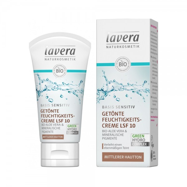 basis sensitiv Getönte Feuchtigkeitscreme mit LSF 10 - mittel Lavera
