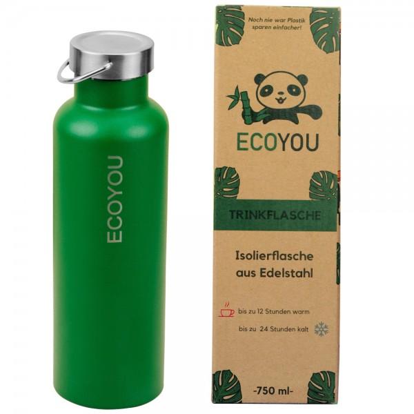 Isolierte Edelstahl-Trinkflasche 750 ml - grün